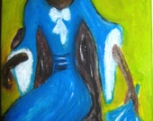 Garden Lady, Oil Painting Signed and Dated by Artist