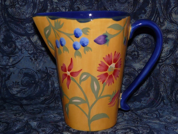 GORGEOUS Handpainted Pottery Pitcher by Saparna