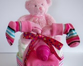 """Baby Shower Gift Bunny Tricycle  Girl Pink and Teal """"I Have A Surprise For You"""""""