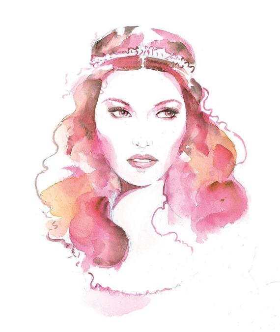 Pink Watercolor Fashion Print Boho A4