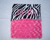 Personalized Minky Large Baby Blanket- Zebra Minky and Hot Pink Swirl