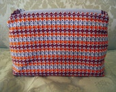 Unique Vintage Fabric Zippered Makeup / Cosmetic Pouch, Orange/Brown/Grey Pattern