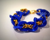 Golden Twist Bracelet in Royal Blue: Acrylic and Gold Chain Link