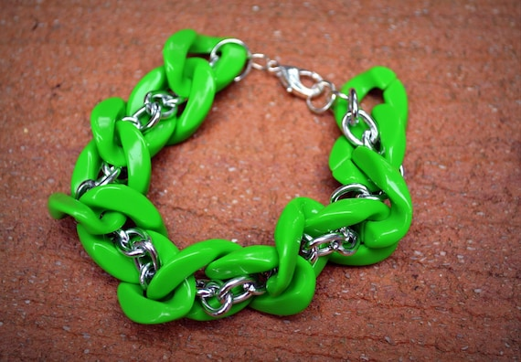 Silver Twist Bracelet in Lime Green: Acrylic and Silver Chain Link