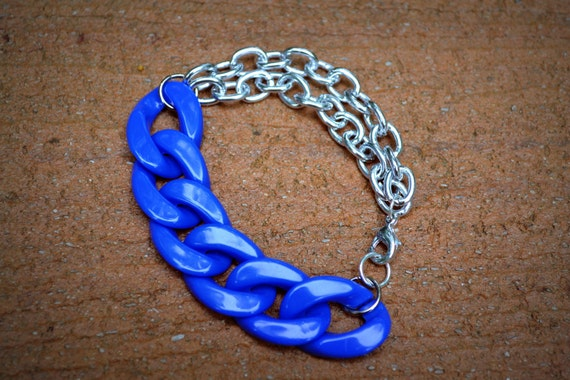 SALE - 20% OFF - Double Stranded Bracelet in Royal Blue: Acrylic and Silver Chain Link
