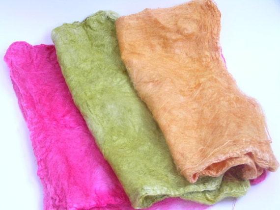 Pink, Peach and Green Hand Dyed Silk Hankies, Silk Mawata, Hand Dyed Spinning Fiber