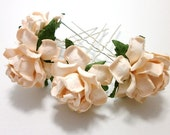 Set of Four Peach Rose Hair Pins Wedding Accessory