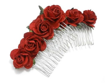 Deep Red Rose Floral Comb Set of Two Hair Combs - Traditional Wedding