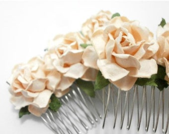 Peach/ Taupe Cream Open Roses Bridal Hair Comb/ Traditional/ Bridal/ Wedding Hair Accessories/ Bridesmaid Hair Fascinator