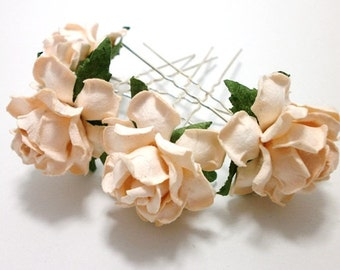 Peach Rose/ Taupe Cream Floral Hair Pin Set/ Bridal/ Wedding Hair Accessories/ Bridesmaid Hair Pin/ Wedding Flower Pins