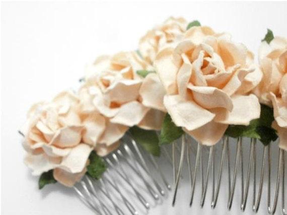 Peach/ Taupe Cream Open Roses Bridal Hair Comb/ Traditional/ Bridal/ Wedding Hair Accessories/ Bridesmaid Hair Fascinator
