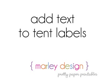 Add Text to Any Tent Labels Buffet Cards Food Drink Party