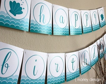 Mermaid Party Happy Birthday Banner PDF Instant Download