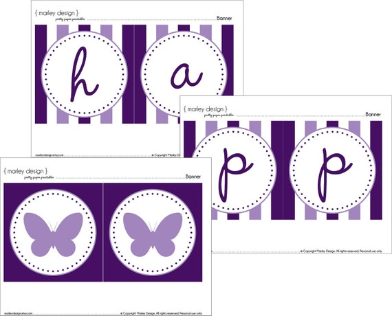 Purple Butterfly Party Happy Birthday Banner Printable Instant Download