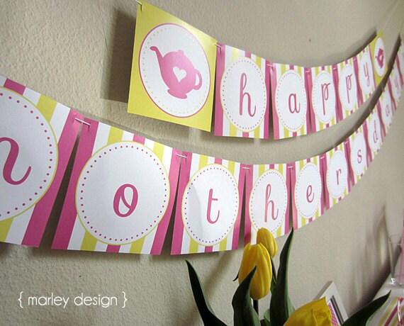 happy mother 39 s day banner printable instant download. Black Bedroom Furniture Sets. Home Design Ideas