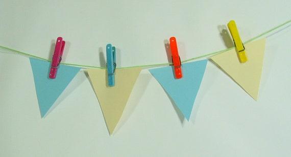 26 Penley Plastic Clothespins -- retro colors, turquoise, yellow, orange, pink