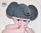PATTERN crochet Baby Elephant Hat Pattern 3 sizes Newborn to 12 months