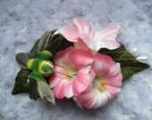 Pink Morning Glory and Hummingbird Hair Clip
