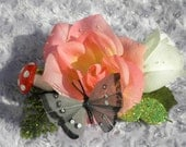 Pink and Green Rose, Mushroom, and Feather Butterfly Glitter Hair clip