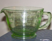 Vintage Hocking Green Depression Glass 1-Pint (16 oz., 2 cups) Measuring Cup