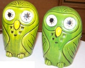 Adorable Green Owls Porcelain Salt and Pepper Shakers by Norleans,  Made in Japan ca. 1950s