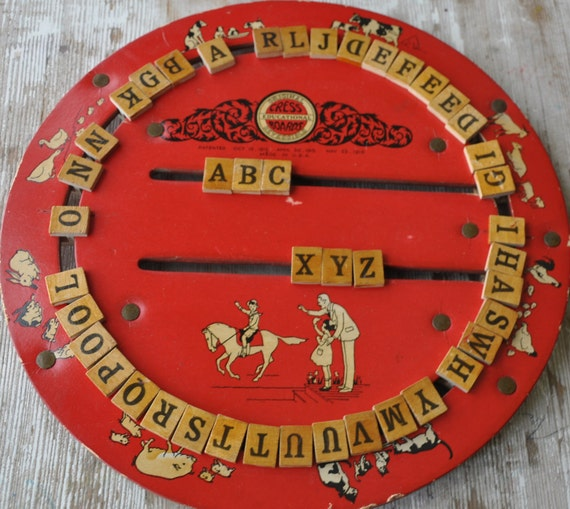 Antique Toy Game Original Cress Educational Board 1916 Reversible
