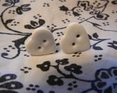 Cream Heart Shapped Button  Earrings