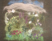 Machair Flowers Harris Tweed Textile Art Wall Hanging Isle of Lewis Scotland Scottish