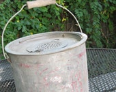 Nice Vintage Minnow Bucket with wooden wood bail handle