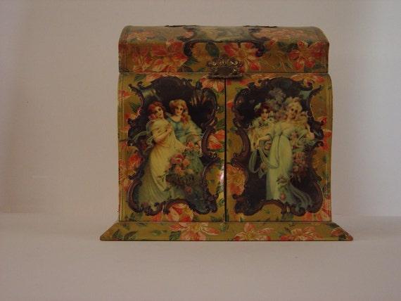 Victorian Era Celluloid Dresser Box with Contents