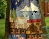 Alaska Quilt Pattern - Alaska Sampler - printed pattern - rugged masculine bear, caribou, orca whale woods and water