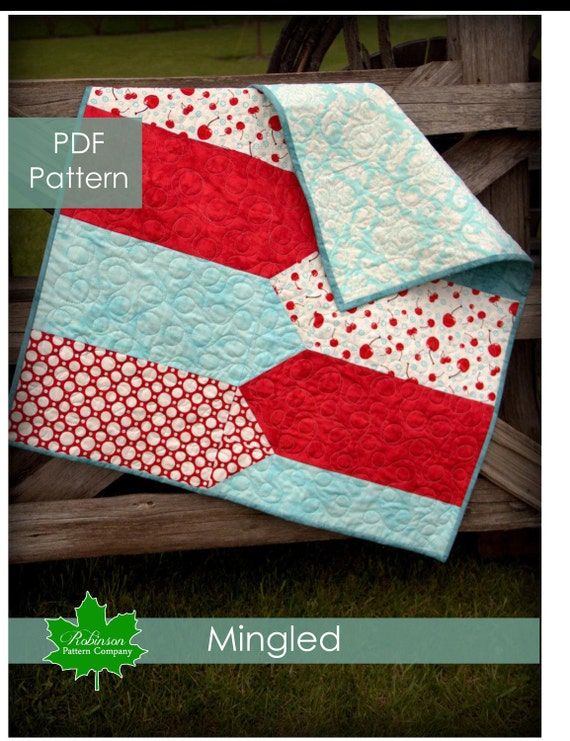 Mingled Baby Quilt Pattern - PDF instant download pattern - Fresh and modern baby quilt and our original design which is quick and easy