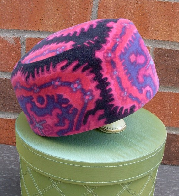 Vintage Paisley Pill Box Hat - Pink and Purple