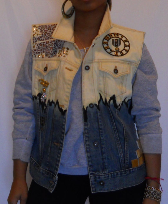 Bleached Hand Painted Vest wih Gold Appliques and Charms along with a Clock Face
