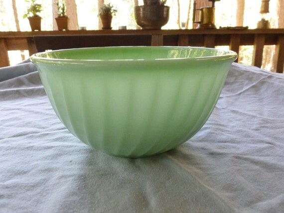 Vintage Fire King 9 Inch Large Swirl Jadite Jadeite Mixing Bowl