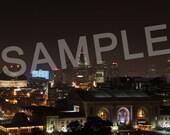 8x10 Downtown Kansas City at Night Photo