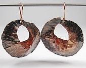 Copper Earrings Fold Formed