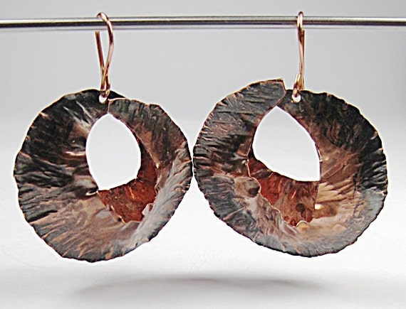 Copper Earrings Fold Formed
