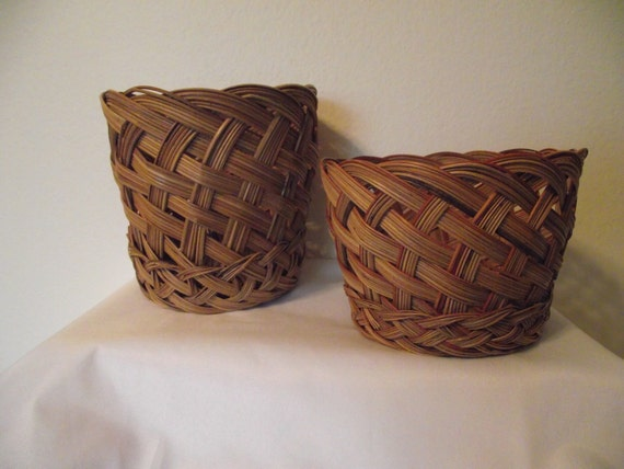 Vintage 2 Wicker Baskets Both with Double Braided Bottom Edges