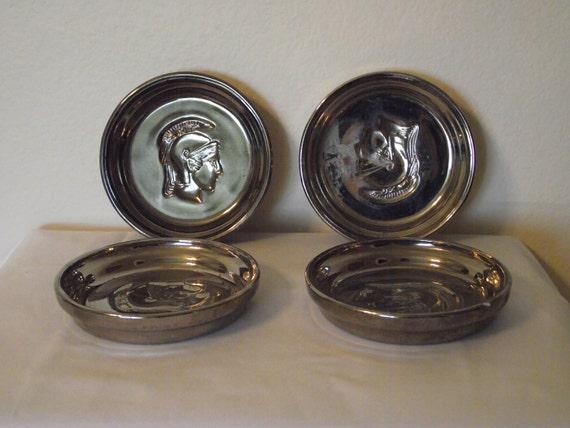Vintage 4 Silvered Glass Gladiator or Trojan Design Coasters