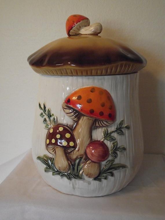 Vintage Mighty Mushroom Cookie Jar with Mushroom Handle on Top
