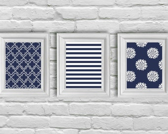 Digital Download, White and Navy Blue Modern Art Prints