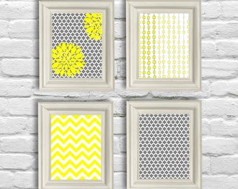 Digital Download Set , Yellow and Gray Art  Prints