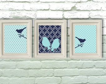 Digital Download, Navy and Aqua Bird Modern Art Prints