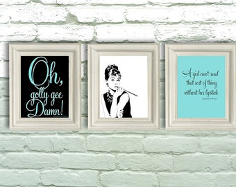 Digital Download, Breakfast at Tiffanys, Audrey Hepburn Prints