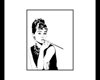 Digital Download No. 03, Breakfast at Tiffanys, Holly Golightly, Audrey Hepburn Print