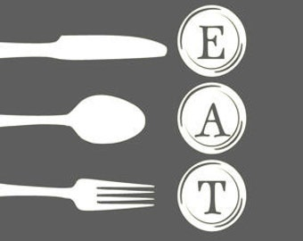 Digital Download, Gray and White Fork, Spoon and Knife Eat Art  Print