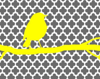 Digital Download, Yellow and Gray Bird on a Branch, Print