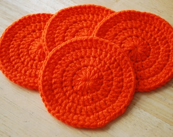 Crochet Coasters - Set of 4 - Bright Orange