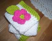 Crocheted dish cloths with flower